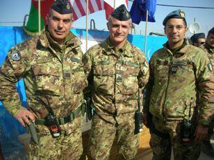 maresciallo Fichera, il capitano Messina e il maresciallo Mandicò nella base aerea di Shindand