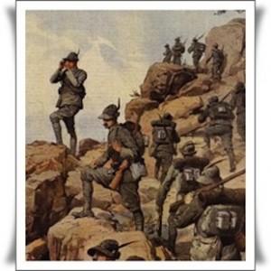 Alpini in una rappresentazione d'epoca