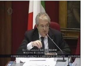 Il Ministro per l'economia e le finanze Fabrizio Saccomanni