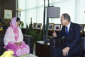 Secretary-General Ban Ki-moon with Malala Yousafzai