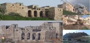 Siria - La fortezza medievale di Qala'at al-Madiq, che domina l'area archeologica di Apamea, bombardata nell'aprile del 2012