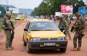 Patrol in Bangui. Eufor troops