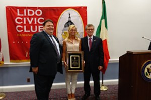 Lido Civic Club Friendship Award:Tom Stallone, Fucsia Nissoli, Francesco Isgro