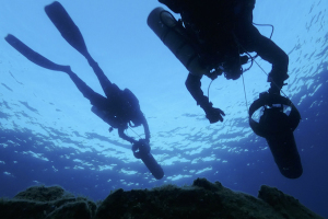 Un momento dell'immersione di Giulio Venditti e Dario Santomauro - Foto di Salvatore Braca