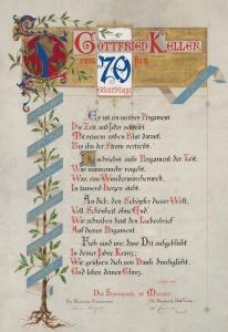 Il Diploma di auguri inviato nel 1889 da Ulrico Hoepli a Gottfried Keller