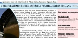 Multi- e bilateralismo- le opzioni della politica estera italiana. Convegno IsAG