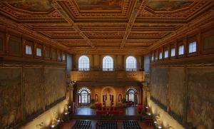 Firenze - Salone dei Cinquecento a Palazzo Vecchio, su una delle pareti Leonardo realizzò la Battaglia di Anghiari
