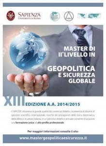 aperte le iscrizioni all'edizione 2015 del Master in Geopolitica e Sicurezza Globale