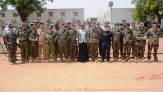 The President of the Central African Republic, Mme Catherine Samba-Panza pays tribute to EUFOR RCA troops