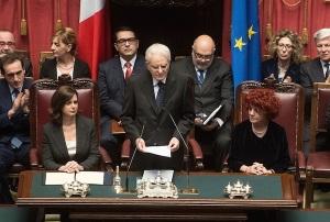 Il Presidente della Repubblica Mattarella durante il messaggio al Parlamento nel giorno del giuramento