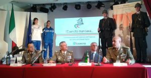 Roma, un momento della conferenza stampa - da sin. il col. Dechigi, il gen. Tota, il prof. Broccoli e il col. Caruso ©clara salpietro