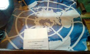 Bandiera ONU della missione UNOGIL, dono del generale Carmelo Pasqua
