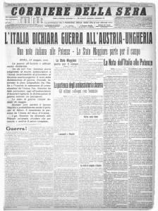 La prima pagina del Corriere della Sera del 24 maggio 1915