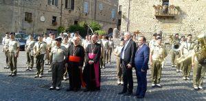 da sin. il cardinale Lorenzo Baldisseri, monsignor Gerardo Antonazzo, il Rabbino Capo Riccardo Di Segni e Sante De Angelis