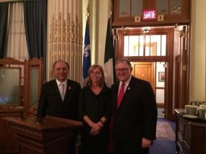 L'on.Nissoli con l'Amb. Cornado ed il Presidente dell'Assemblea nazionale del Québec, Jacques Chagnon