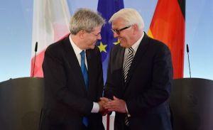 Il Ministro degli Affari Esteri e della Cooperazione Internazionale Paolo Gentiloni e il suo omologo tedesco Frank-Walter Steinmeier