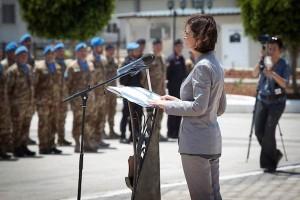 La presidente della Camera dei Deputati Laura Boldrini durante il suo intervento presso la base di Shama