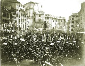 Roma, inaugurazione del monumento di Giordano Bruno il 9 giugno 1889 nella piazza di Campo de' Fiori. Il monumento è opera dello scultore Ettore Ferrari che fu Gran Maestro del Grande Oriente d'Italia.