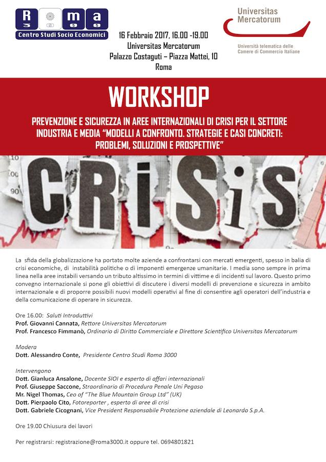 Roma: workshop 'Prevenzione e sicurezza in aree internazionali di crisi' del Centro Studi Roma3000