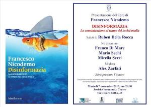 Roma: al Jewish Community Center presentazione libro 'Disinformazia' di Francesco Nicodemo
