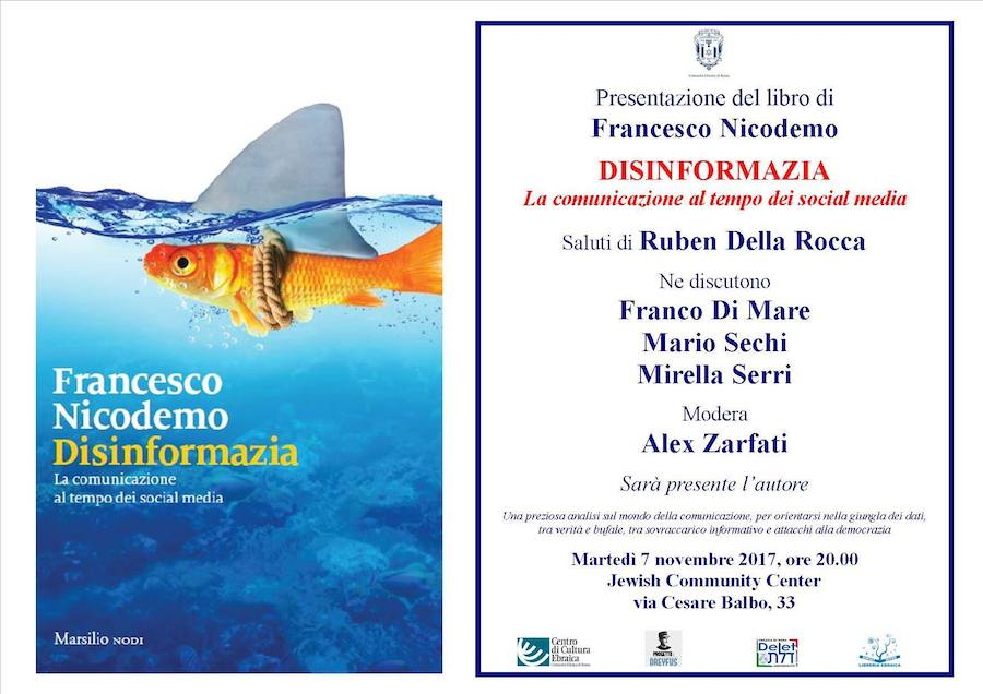 Roma: al Jewish Community Center presentazione libro <em>Disinformazia</em> di Francesco Nicodemo
