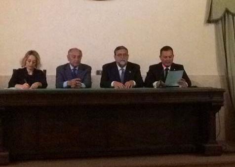 Da sin. la giornalista Clara Salpietro, il Prof. Avv. Emmanuele F.M. Emanuele, il Presidente Nazionale dell'Associazione Gr. Uff. Ilario Bortolan e il Cav. Biagio Liotti